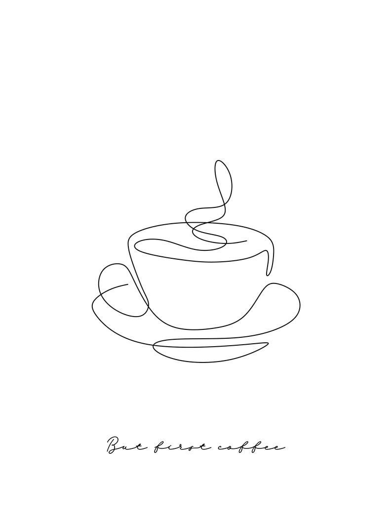 Wall Print, Wall Collage, One line Coffee, Printable Poster, scandinavian style, modern Print…