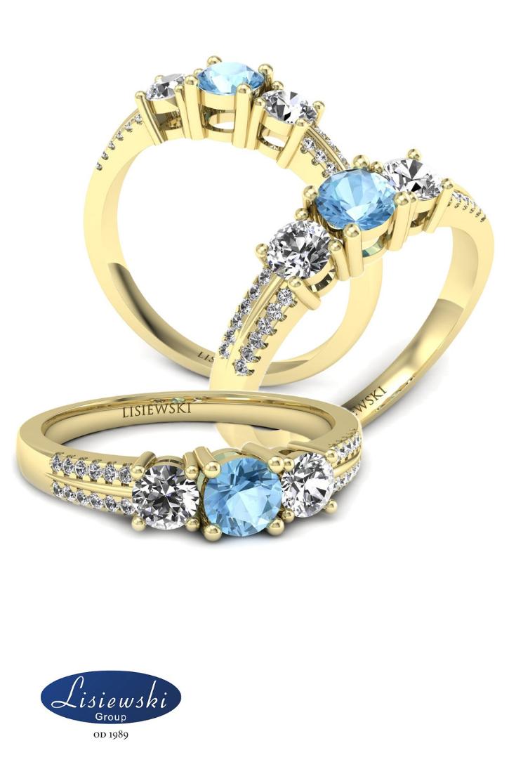 Pierścionek Zaręczynowy Z Topazem I Diamentami Zaręczyny