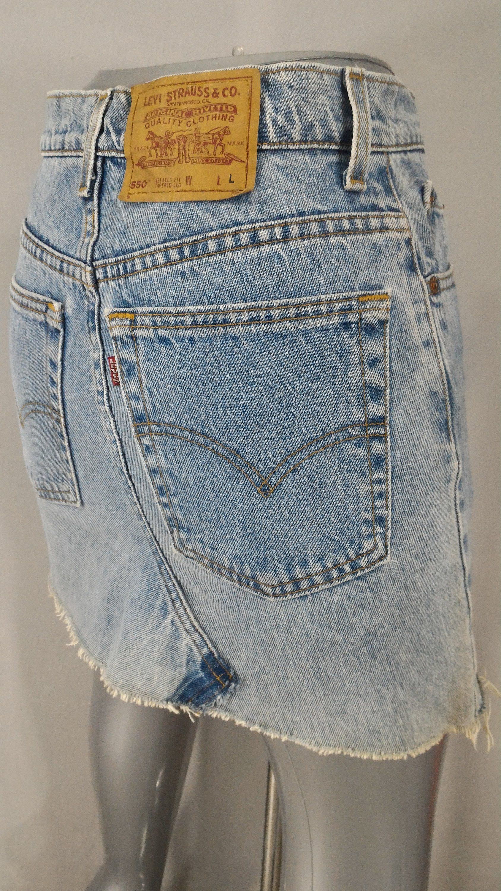 6d6a99a935ef0c Sz 28 Vintage Levis 550 Mini Skirt Jeans Custom Distressed Cut Off Denim  Made In USA