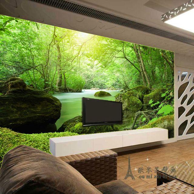 Behang voor muren 3d verse jungle bruggen behang slaapkamer ...