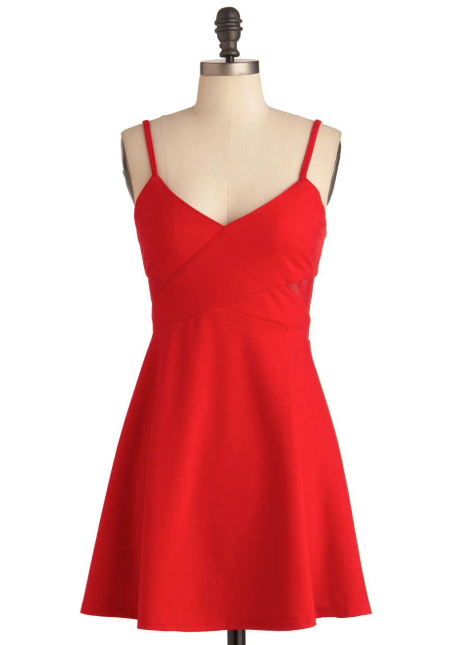 c3ae8430cb16 Fun in the Crimson Dress - Short, Red, Solid, Cutout, Exposed zipper,  Spaghetti Straps, Party, Urban, A-line