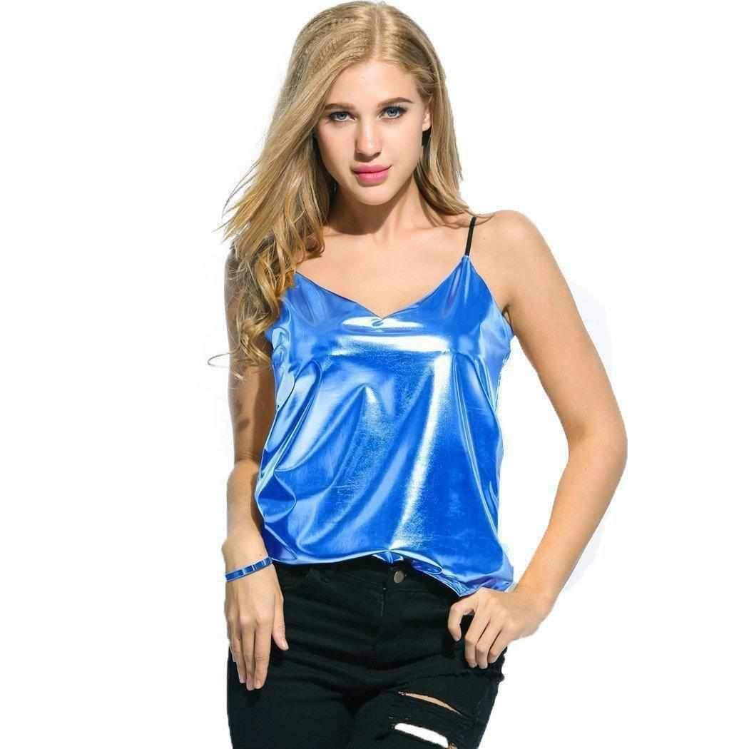 2769b98c04743 Sexy Metallic Blue Shiny Liquid Wet Look Tank Top Camis  style  edgycouture   fashion  trendy  hot  women  followme  party  clothes  fashionaddict