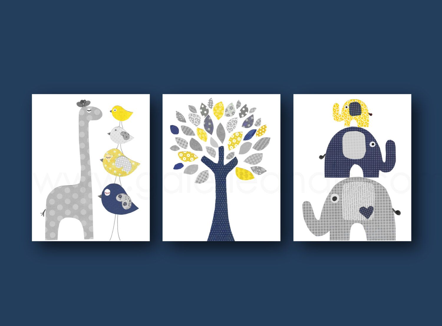 Baby Boy Wall Art navy blue yellow and gray nursery art print baby boy room decor