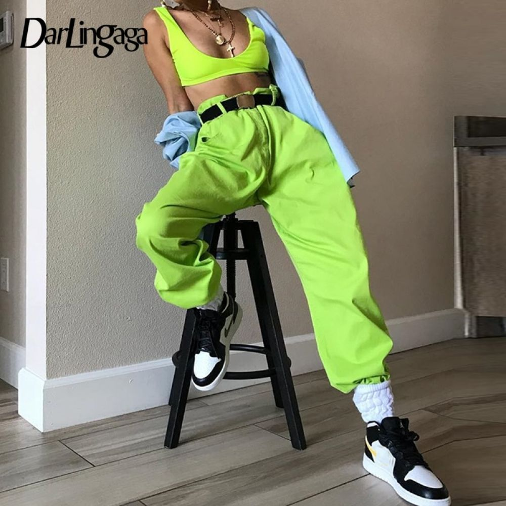 Darlingaga Hip Hop Fluorescent green track pants solid casual loose joggers women streetwear women's...