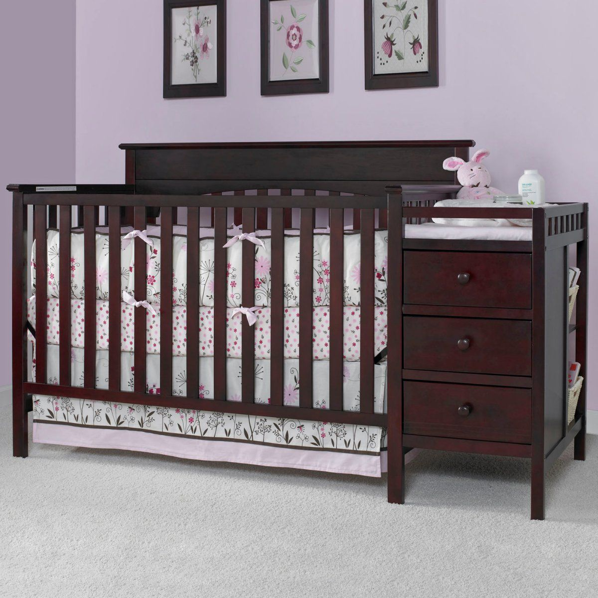 Graco Lauren 4 In 1 Convertible Crib And Changer Combo   Classic Cherry    Nursery Furniture
