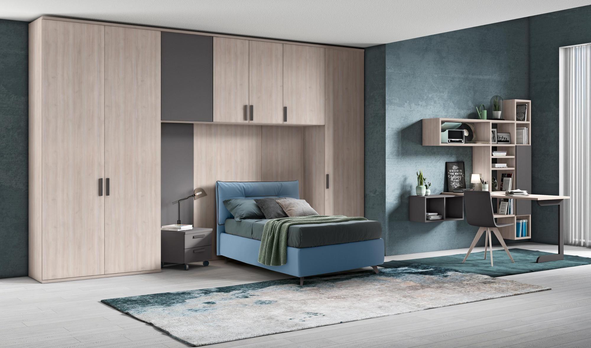 Finiture legno e grigio Arredo camere da letto per bambini e ...