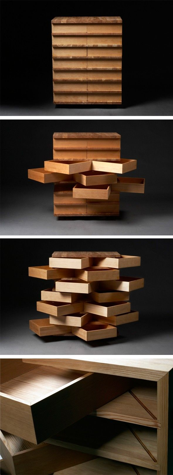 Fjarill Drawers by Danish designer Jakob Jørgensen - Drawers that can be opened in different directions.