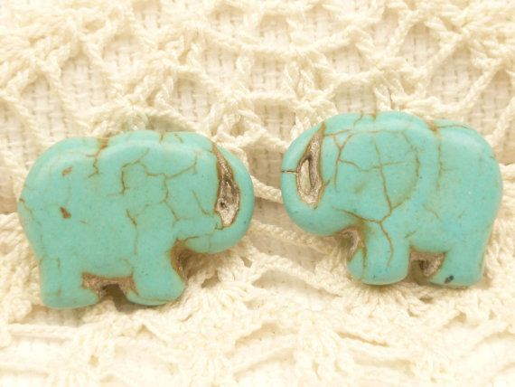 83610b175 Gorgeous, antiqued turquoise elephant beads. Drilled top to bottom. Please  not that the crackle finish varies from many crackles to almost none.