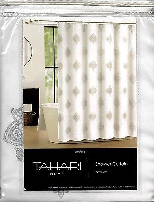 Tahari Home Fabric Shower Curtain White Silver Print Istanbul New
