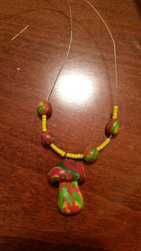 Magic mushroom necklace, polymer clay and beads