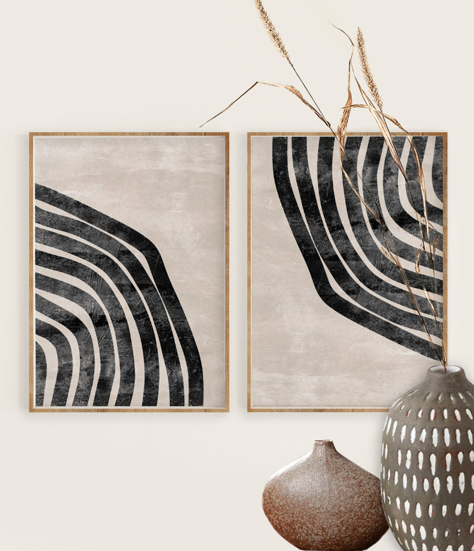 Neutral Geometric Wall Art Print, Mid Century Mode