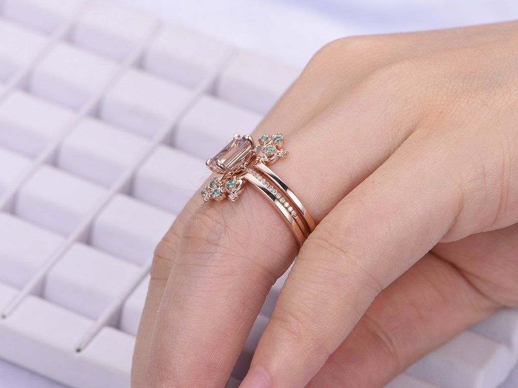 Emerald Cut Morganite Engagement Ring Sets Alexandrite Tiara Ring ...