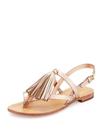 f71128be3 clorinda leather flat tassel sandal