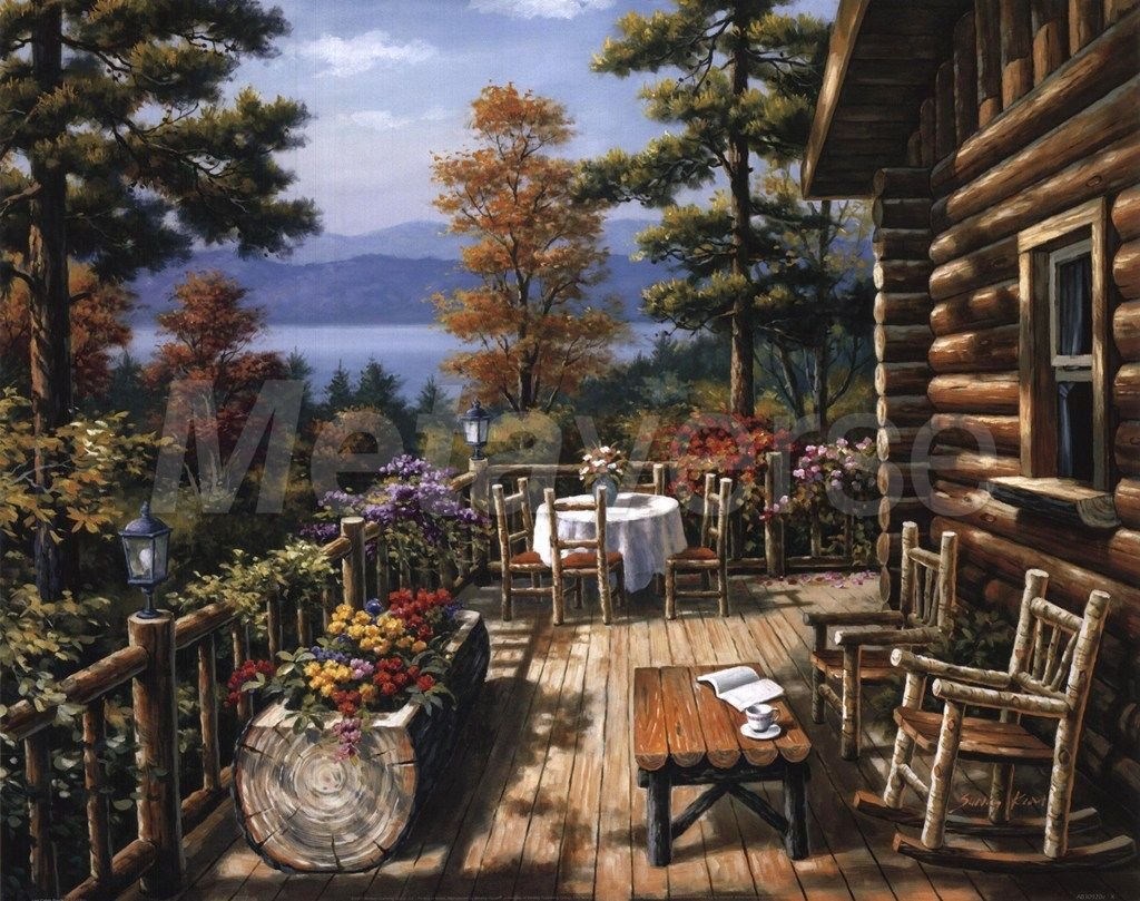 Log Cabin Porch By Sung Kim Porch Paint Painting Country Art