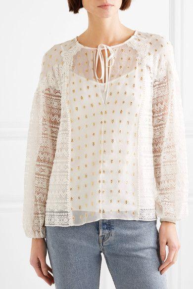 4d4201efbdc8c Temperley London - Wondering Lace-paneled Fil Coupé Georgette Blouse - White