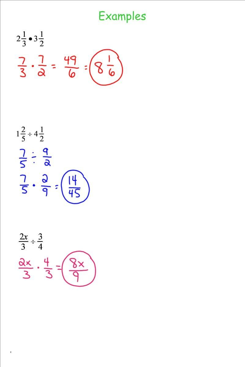 Grade Problems Word Fraction 7th
