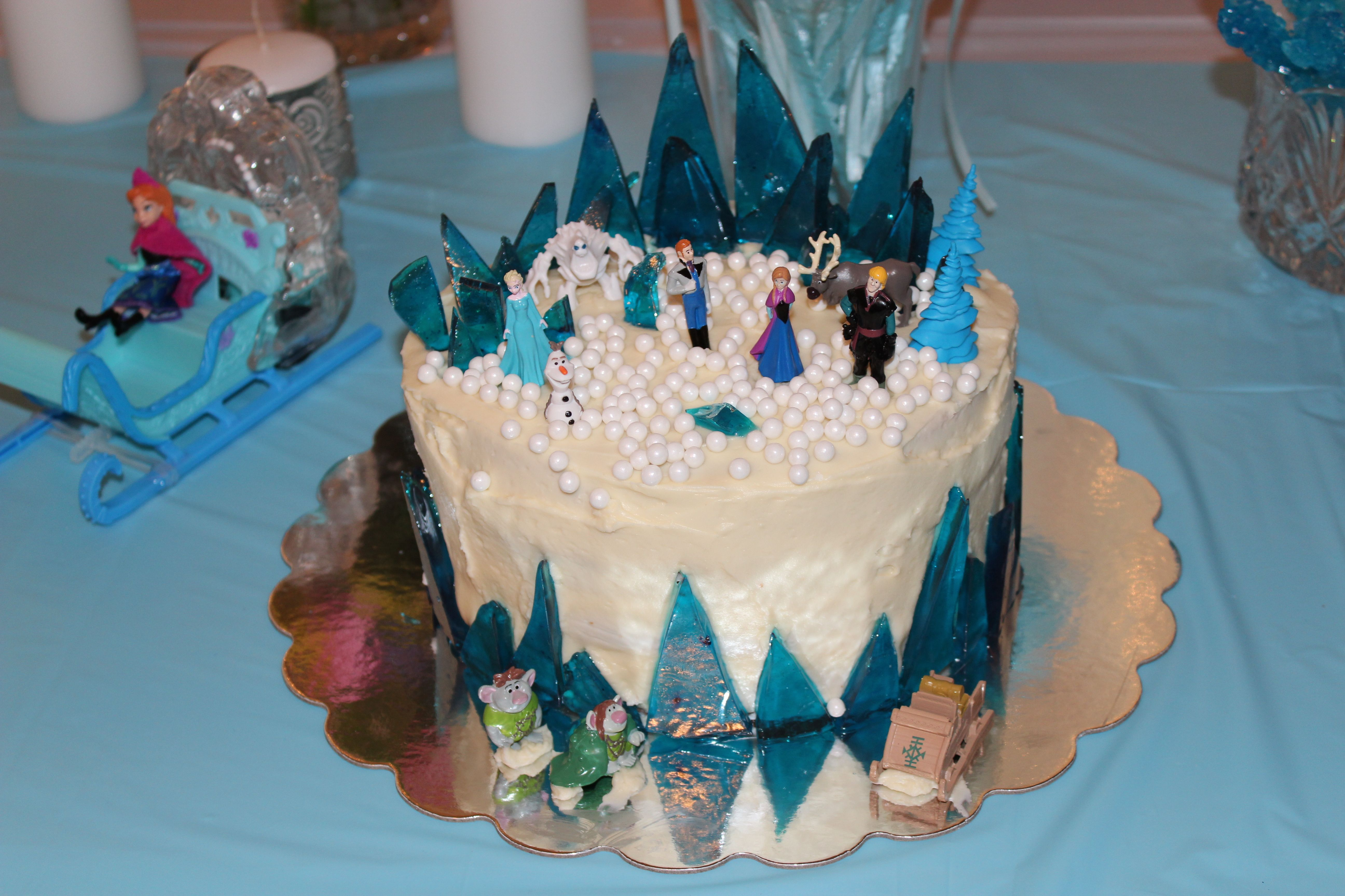 """Frozen Cake- 4 8' rounds stacked and coated with vanilla frosting. """"Ice"""" is rock candy"""