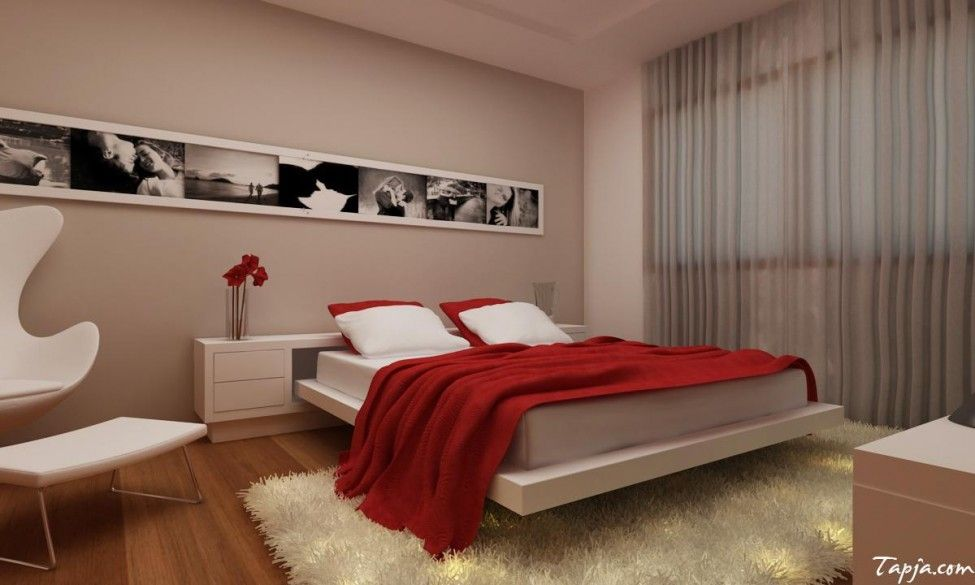 Winsome small decorating rooms for couples with red duvet for Ways to set up a small bedroom