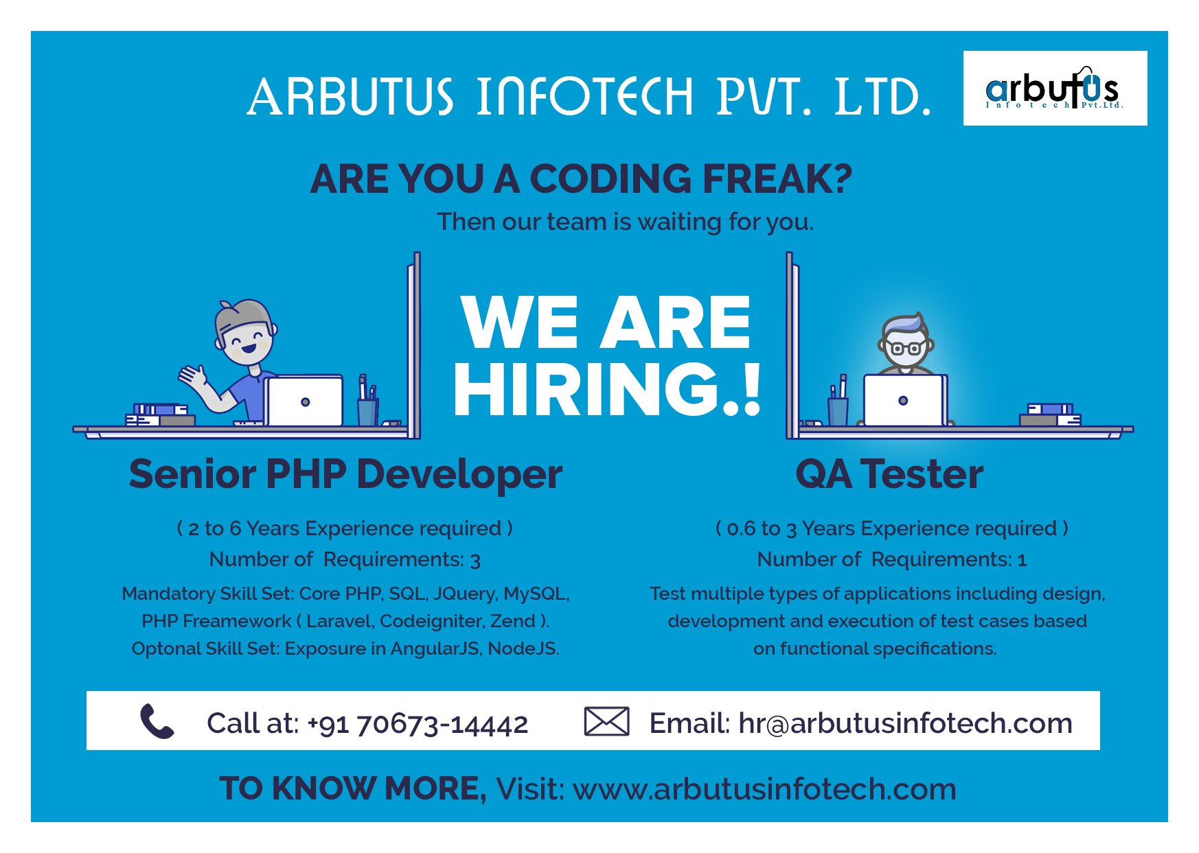 We have an urgent Opening for Sr. PHP Developer and QA