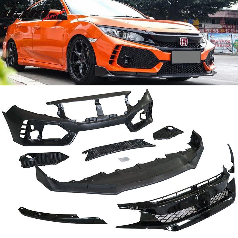 Nice Great Fits 16 17 Honda Civic 10th Gen Type R Conversion Front Bumper Pp 2018 Check More At Http 24 Honda Civic Honda Civic Sport Honda Civic Accessories