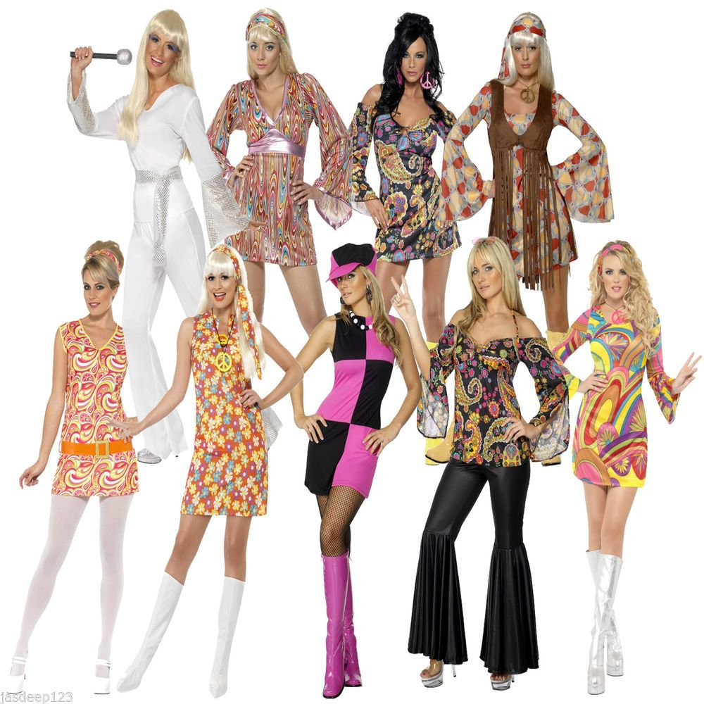 Christmas gown ideas 70s halloween - Womens Ladies 60s 70s Retron Hippie Hippy Groovy Fancy Dress Costumes Party