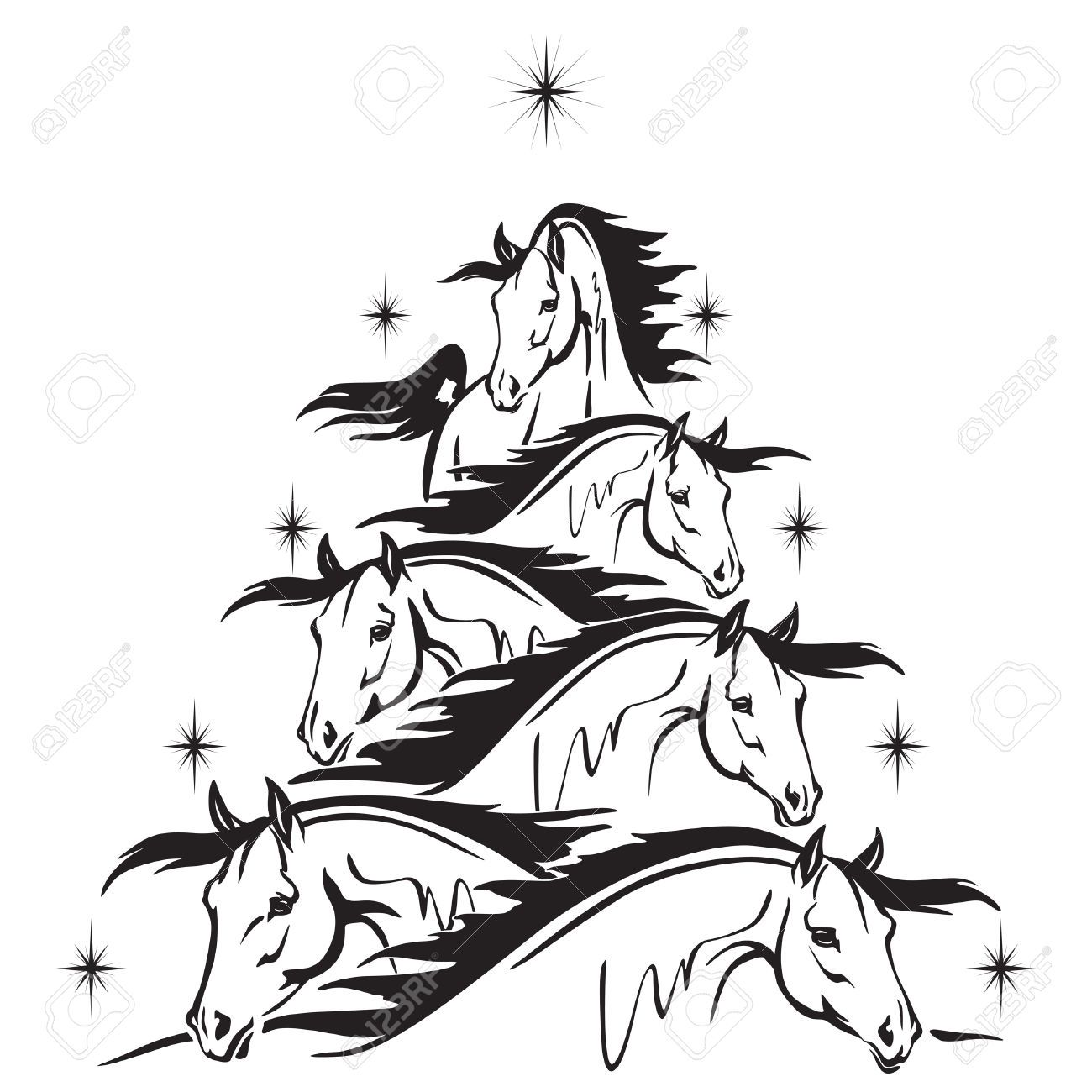 Christmas Tree Of Horses Heads Royalty Free Cliparts, Vectors, And ...
