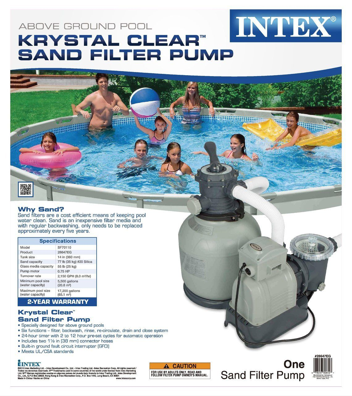 Intex Krystal Clear 2800 Gph Above Ground Swimming Pool Sand Filter