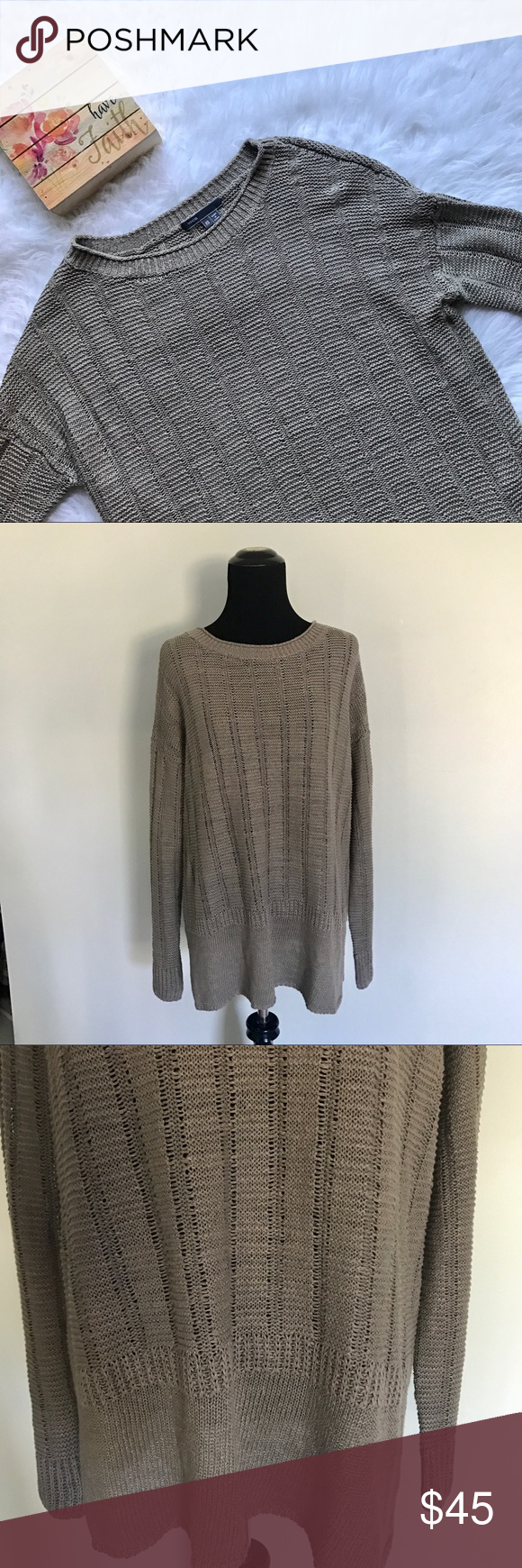 ❤SOLD {Vince} Brown Knit Sweater | Long sweaters, Light browns ...