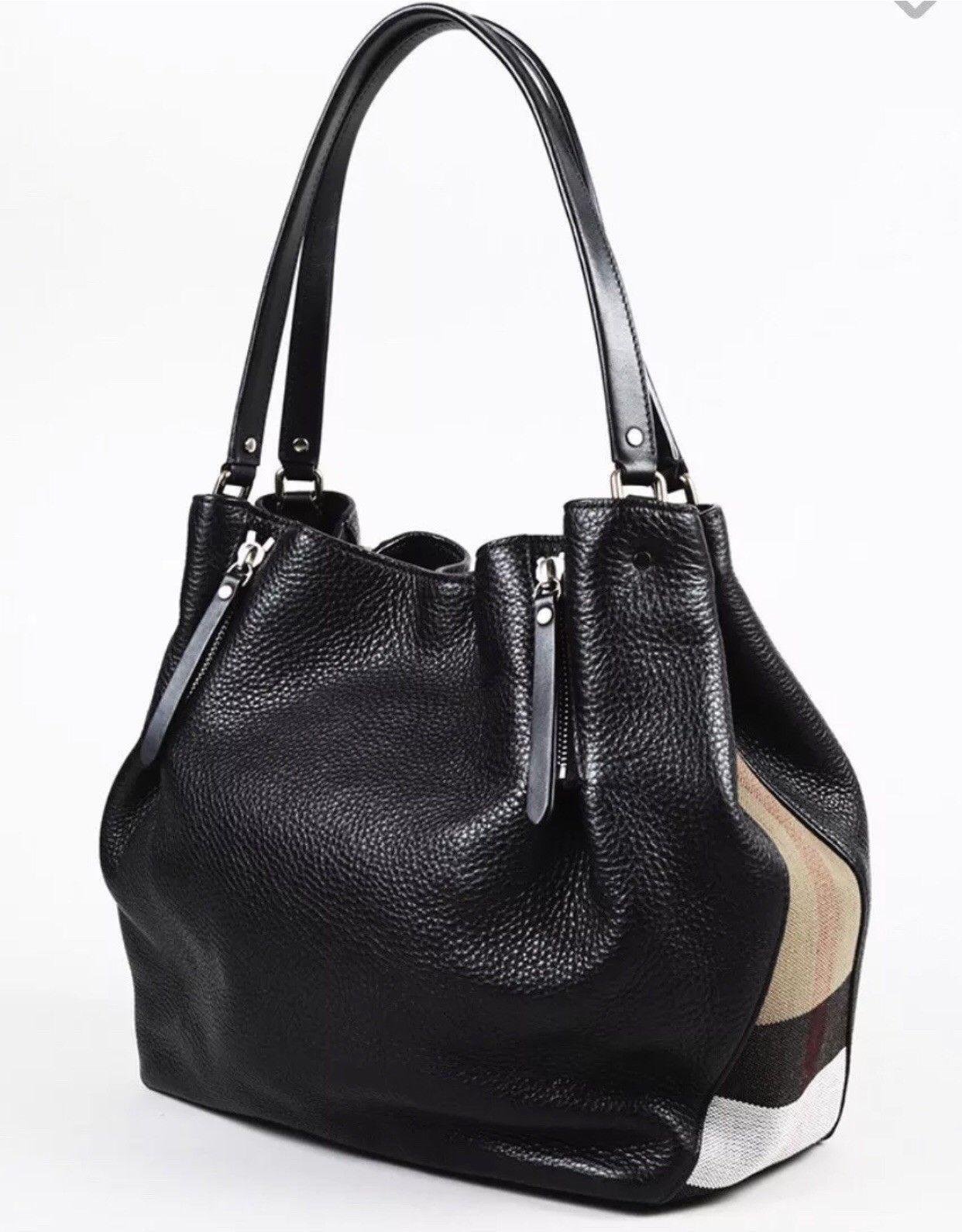 9408730d1670 Burberry Women s Brit Medium Maidstone Leather and Canvas Handbag Black   499.0