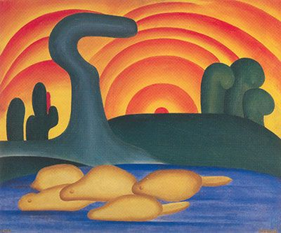 Tarsila do Amaral,  Setting Sun Fine Art Reproduction Oil Painting