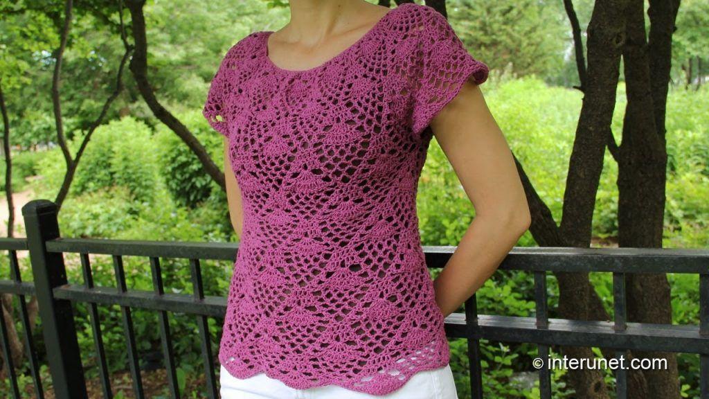 Crochet Pineapple Stitch Blouse Part 1 Of 2 Youtube Crochet Blouse