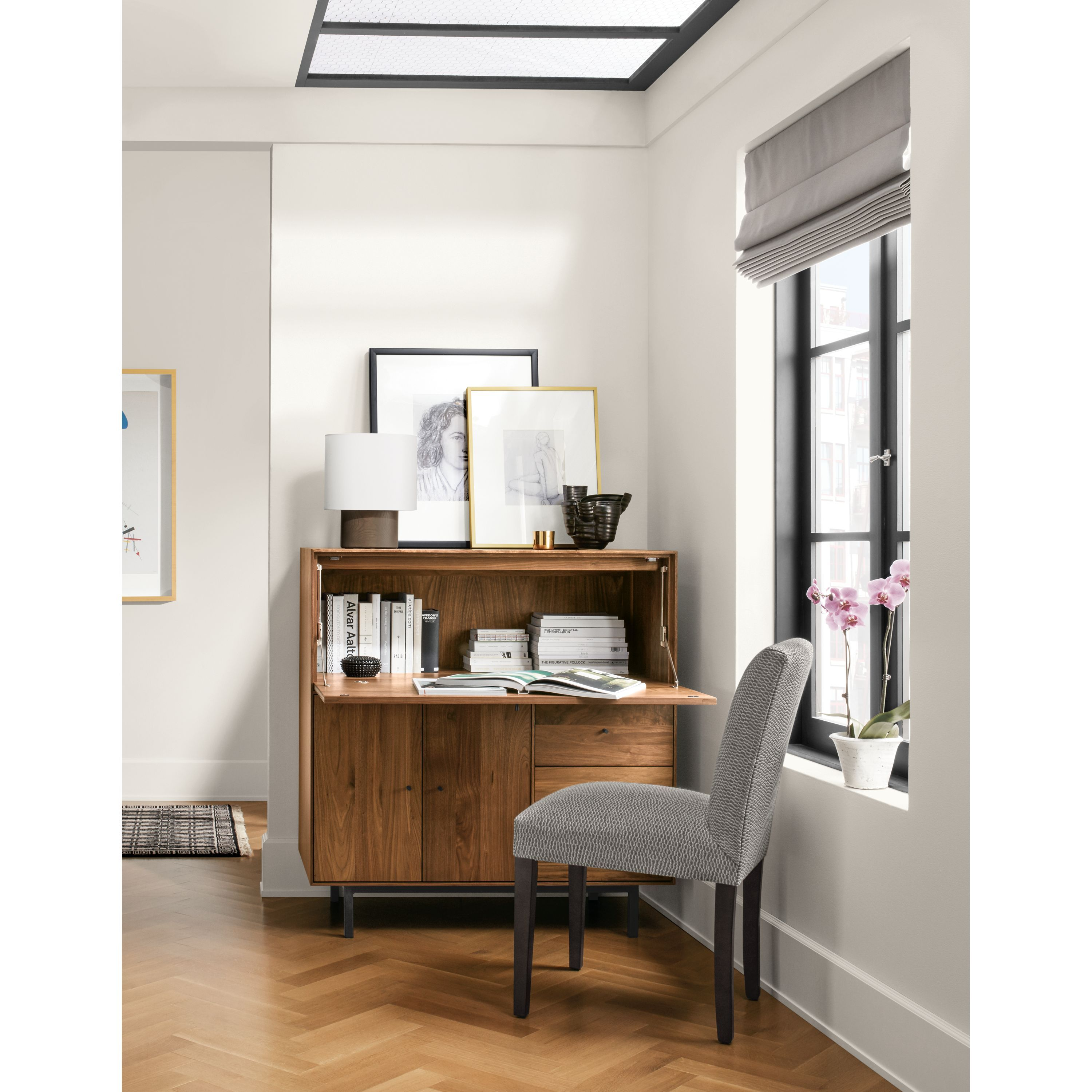 Modern Office Armoire With Steel Base