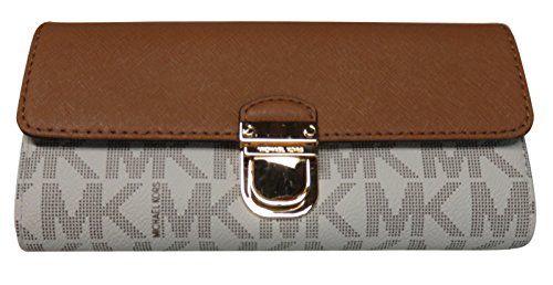 30ca7c27b1df nice Michael Kors Bridgette Saffiano Leather/ PVC Flap Wallet Vanilla/Acorn