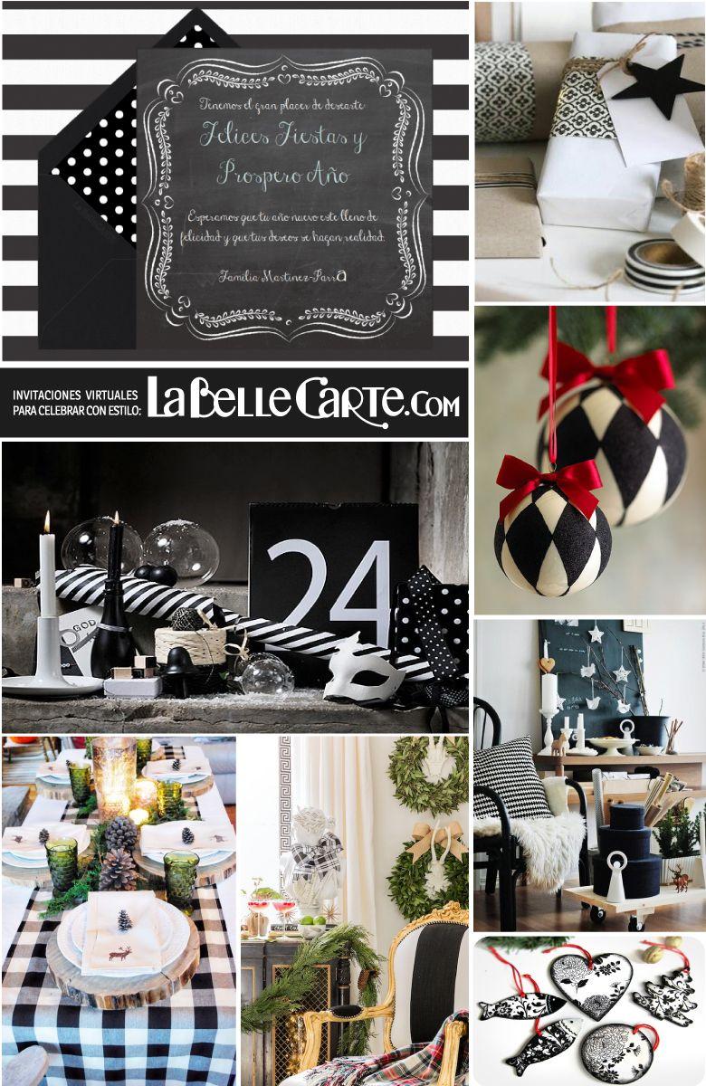 Tarjetas de navidad tarjeta de navidad fiesta de navidad - Decoracion blanco y negro ...
