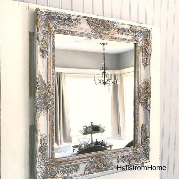 Shabby Chic Wall Mirror White And Gold Kleuren En Schilderen Ideeen
