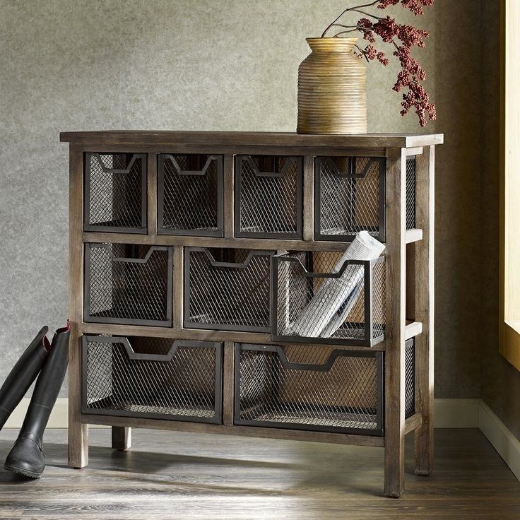 metal bin console accent table rustic modern produce storage pantry drawers wood