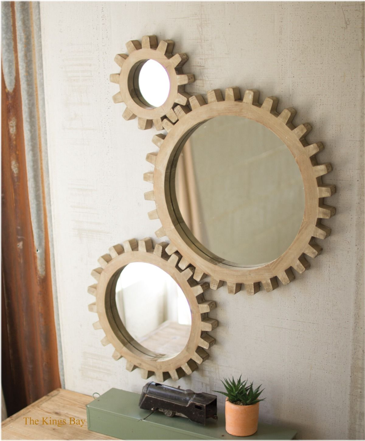 Wood Cog Gear Set Of 3 Mirrors From Old Factory Foundry Vintage Era The Kings Bay Modern Mirror Wall Mirror Wall Decor Mirror Design Wall