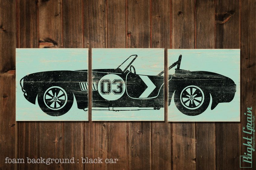 Vintage Race Car Art Boys Room Wall By Evolveprintmaking