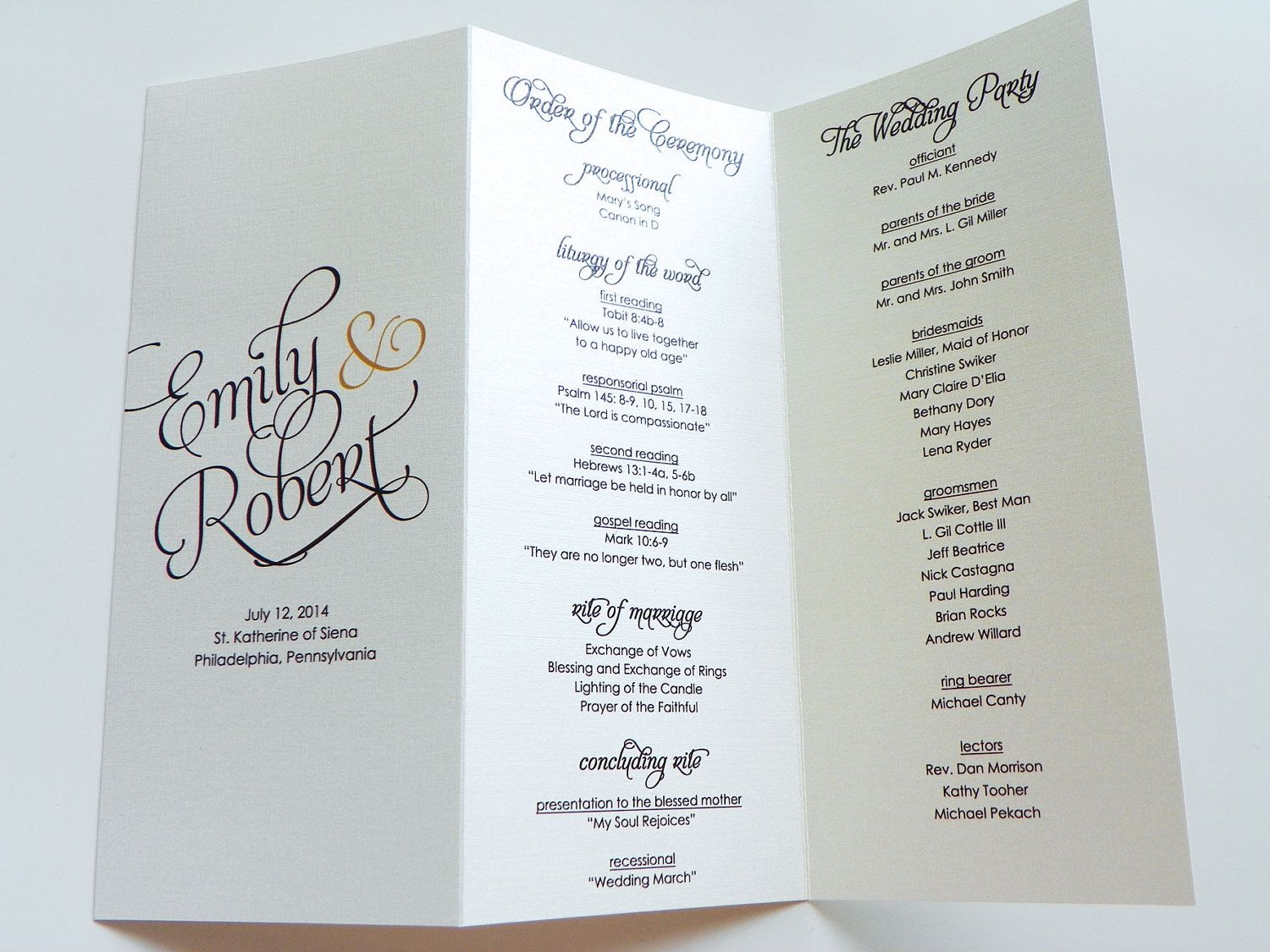 Scripted pearl shimmer trifold wedding programs wedding for Wedding blessing order of service template