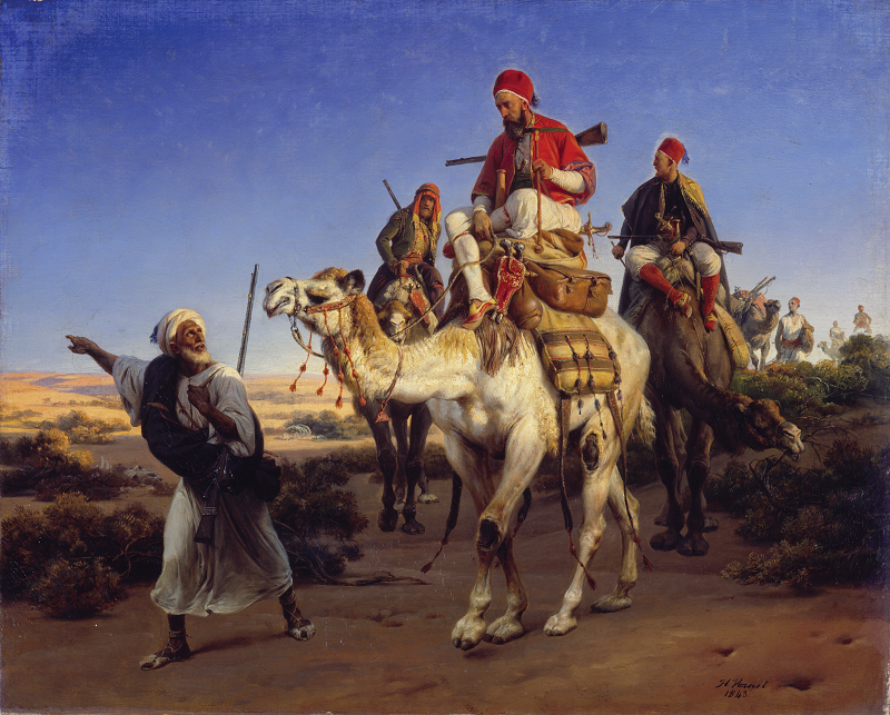 Arabs travelling in the desert, by Horace Vernet. 1843. (Wallace Collection, London).