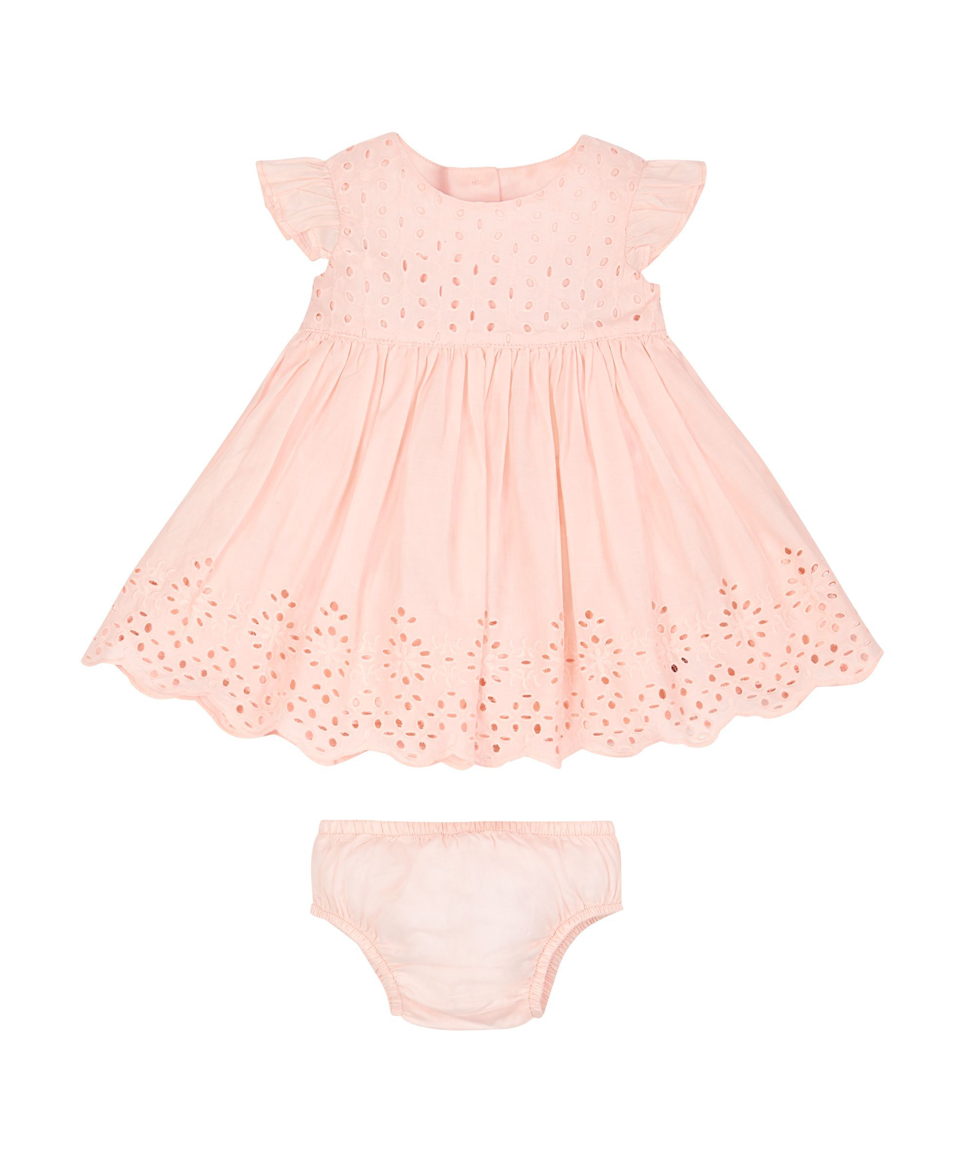 Pink Broderie Dress and Knickers Set