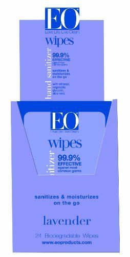 Eo Sanitizing Hand Wipes Organic Lavender Biodegradable 24