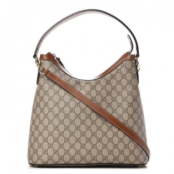 5e856da24ee This is an authentic GUCCI GG Supreme Monogram Linea A Hobo in Brown. This  stylish hobo is crafted of GG embossed coated canvas.