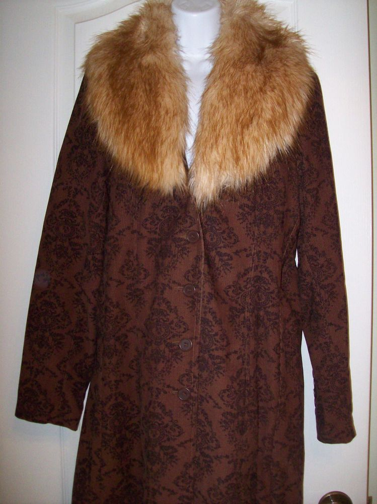 STATIC Brown Corduroy Coat MED W/Faux Fur Removable Collar & Black Floral Print  #Static #KneeLengthCoat
