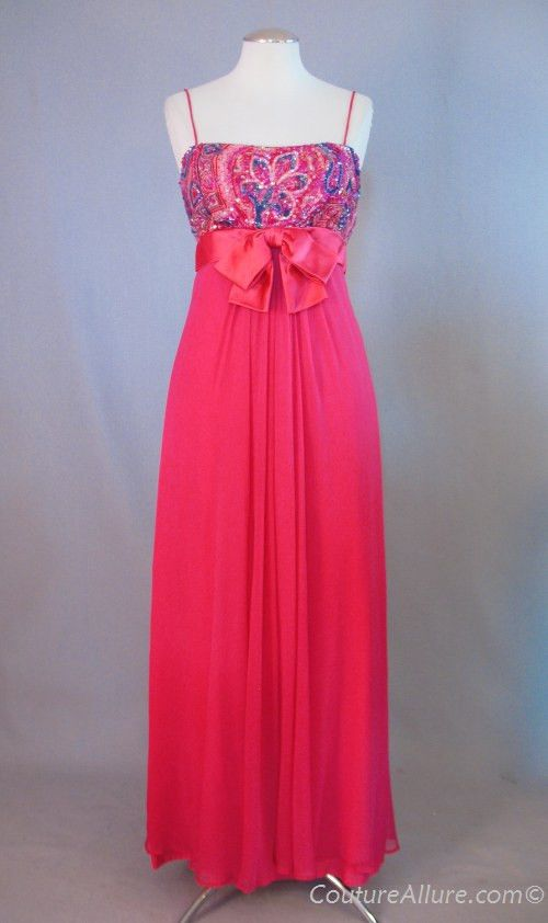 Vintage 60s Dress Evening Gown Sequins Pink Silk Small bust 35 at Couture Allure Vintage Clothing