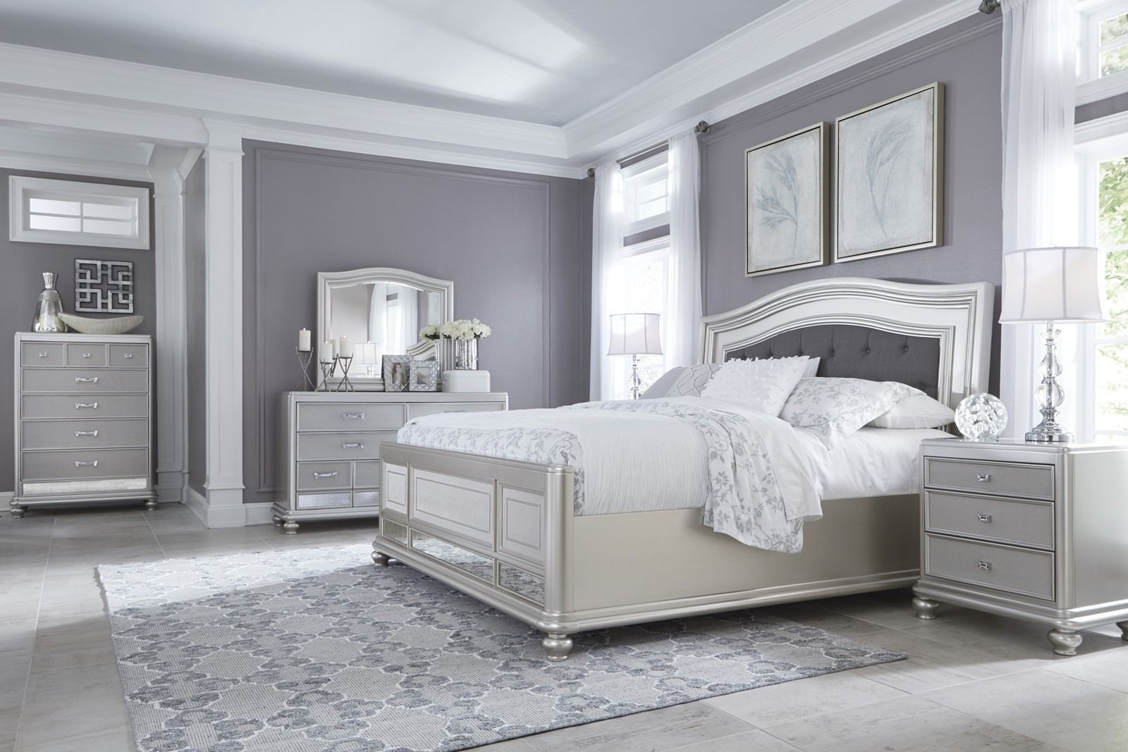coralayne 4 piece upholstered panel bedroom set in silver made coralayne 4 piece upholstered panel bedroom set in silver made with paint grade materials including
