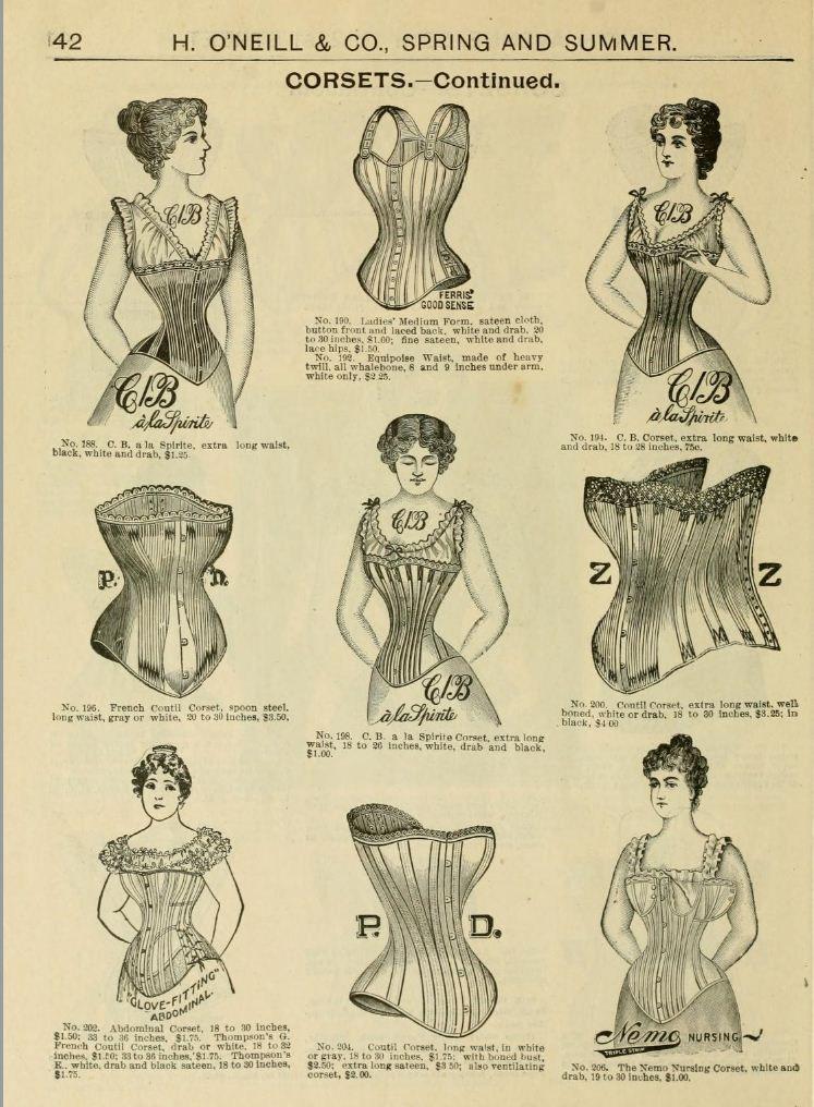 1898 Vintage Fashion H O Neills Spring Summer Catalogue Page 42 Corsets Victorian Fashion Women Victorian Corset Fashion Illustration Vintage