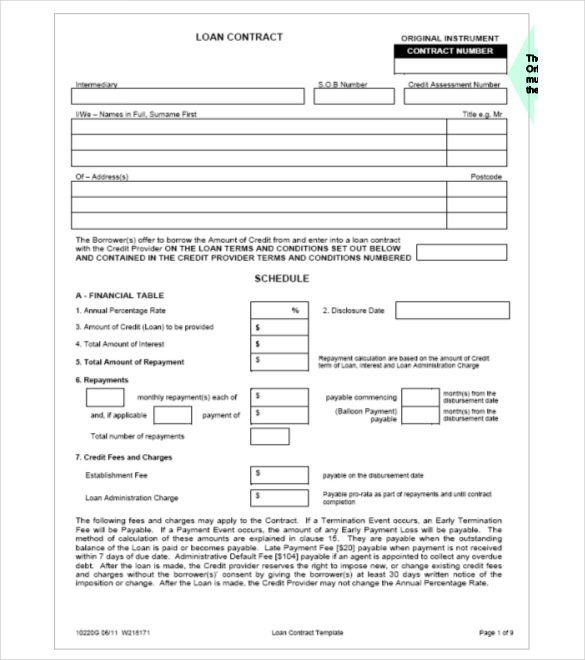 Format Secured Loan Contract Free Template , 26+ Great Loan - financial loan agreement template