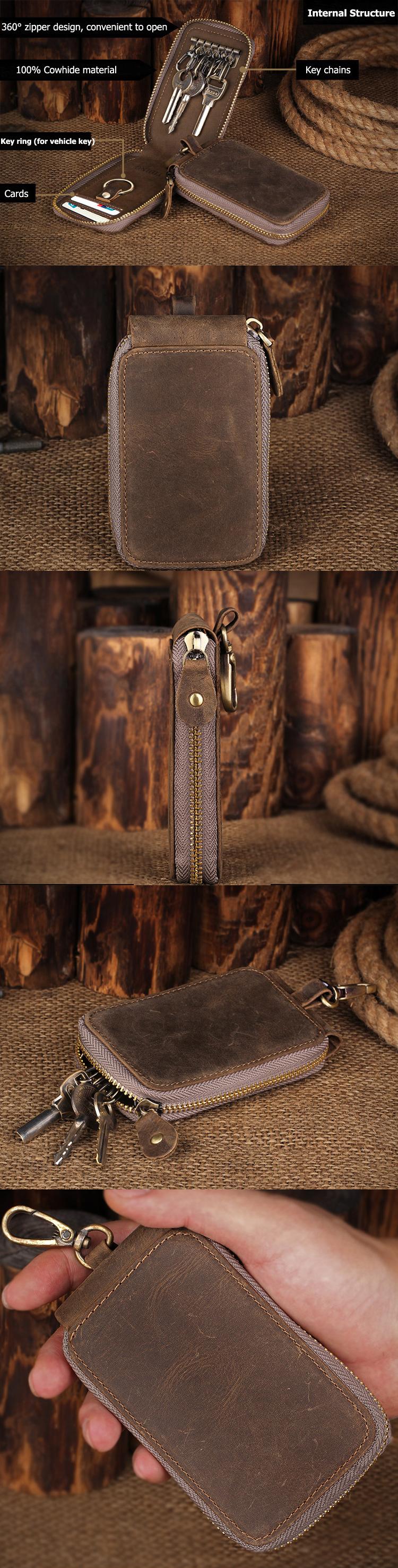 High-end Vintage Crazy Horse Leather Large Volume Multi-function Car Keys Case Card Holder
