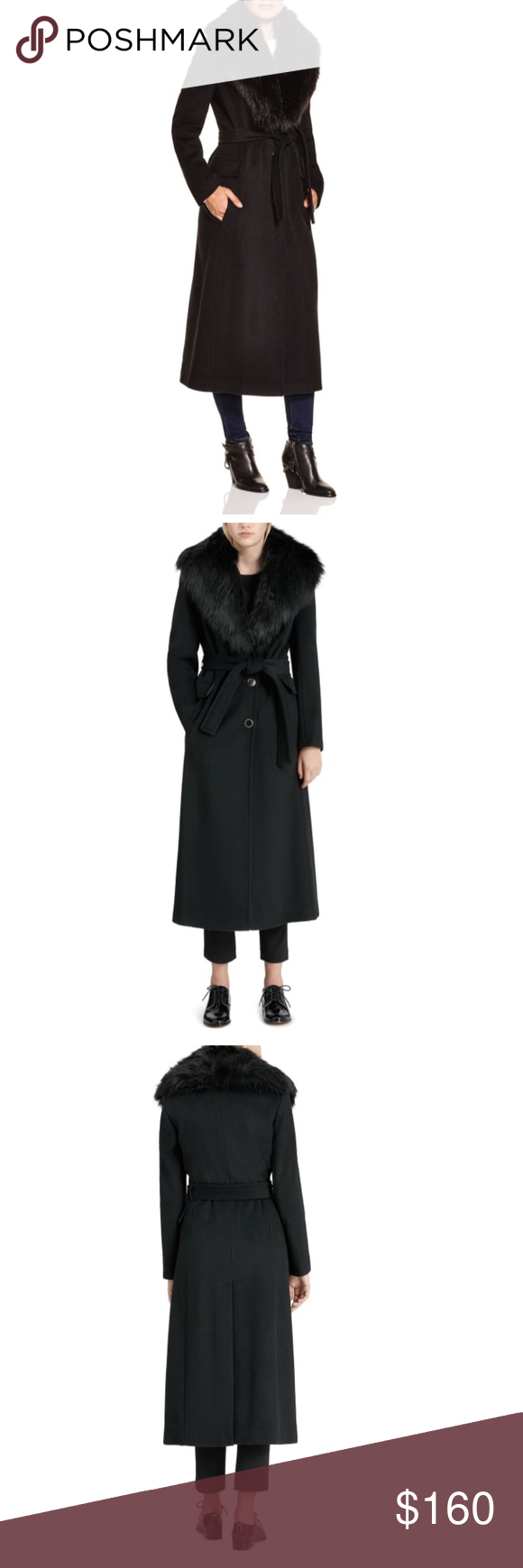 5ca4c19186e Calvin Klein Faux Fur Trim Wrap Coat With its flattering belted silhouette  and sumptuous faux-